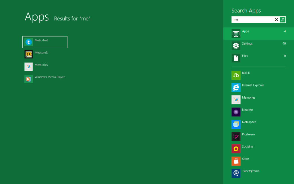 The search screen in Windows 8 !